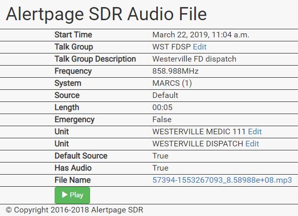 SDR Radio – Alert Page